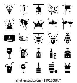 Party icons pack. Isolated party symbols collection.