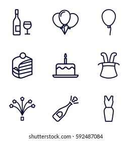 party icons set. Set of 9 party outline icons such as baloon, cake with one candle, dress, piece of cake, fireworks, opened champagne, wine glass and bottle, magic hat