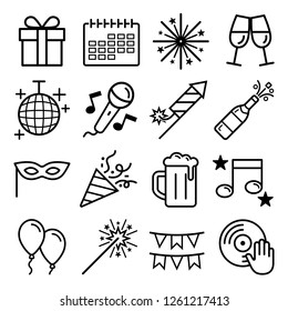 Party icons set. Vector illustrations.