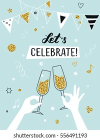 Party invitation background raised hands holding champagne glasses, vector illustration