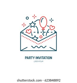 Party invitation card in envelope line icon. Vector logo for event service. Linear illustration of holiday message.