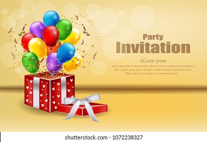 Party invitation card with gifts and balloons Vector. celebrate events banner posters