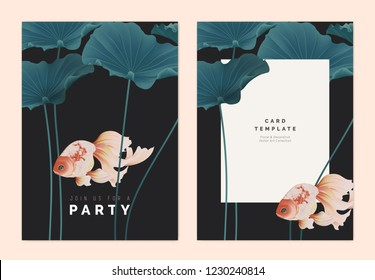 Party invitation card template design, goldfish with lotus leaves on dark grey background, pastel vintage style