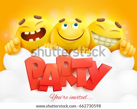 Party Invitation Card Template Three Emoji Stock Vector Royalty