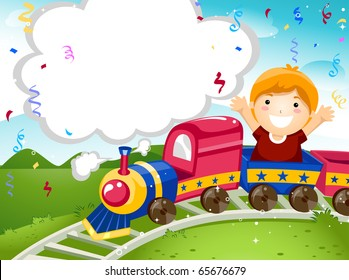 Party Invitation Featuring a Kid Riding on a Toy Train