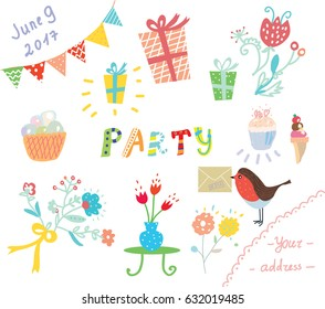 Party invitation for kids design elements, vector graphic illustration