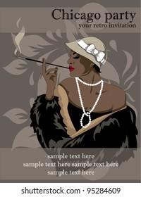 Party invitation in retro style with smoking african american woman