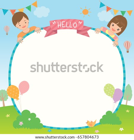 party invitation template design cute kids のベクター画像素材