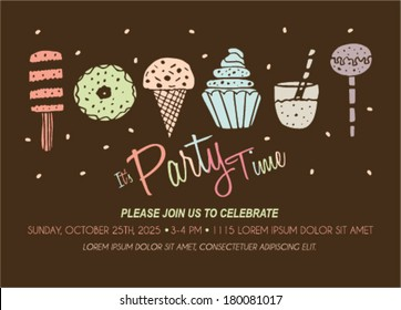 Party Invitation Template with Ice Cream, Cupcakes, Popsicle Donuts.