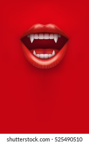 Party Invitation with vampire mouth open red lips and long teeth. Vertical poster. Vector Illustration.