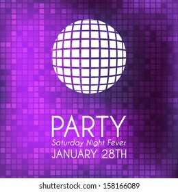 Party invitation with violet background and white text in disco style./Party invitation
