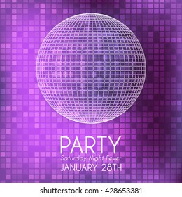 Party invitation with white party ball and pink background.