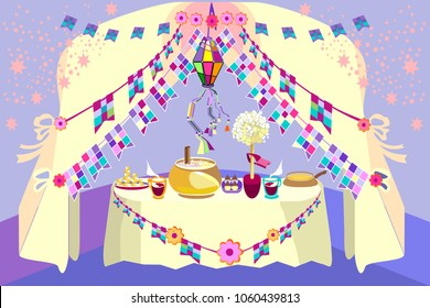At a party in June, typical foods and drinks are indispensable.Typical Brazilian sweets.Canjica, a Brazilian corn porridge.Traditional brazilian party decoration. Creative vector cartoon.