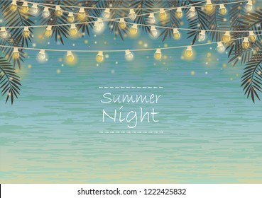 Party light and decoration flag vector background for summer night party.
