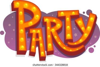 Party light sign cartoon