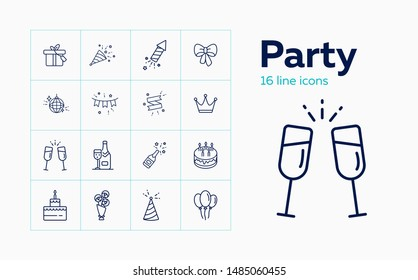 Party line icon set. Decoration, crown, alcohol, dessert, gift. Celebration concept. Can be used for topics like birthday, wedding, surprise, holiday
