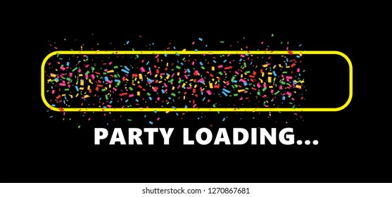 Party loading Party time Vector loading bar loadingbar deals icon icons signs sign symbol fun funny Doodle Yellow sun party day falling tiny Confetti pieces Celebration celebrate happiness Let's Party
