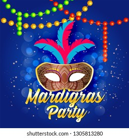 party mask  background for Carnival party template or flyer design. - Vector