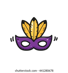 Party mask icon hand drawn template isolated