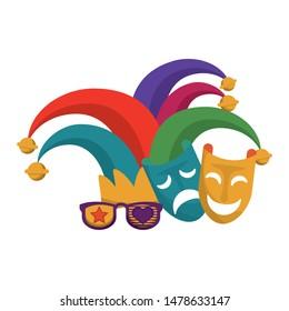 party masks festive carnival costume celebration decoration with jester hat cartoon vector illustration graphic design