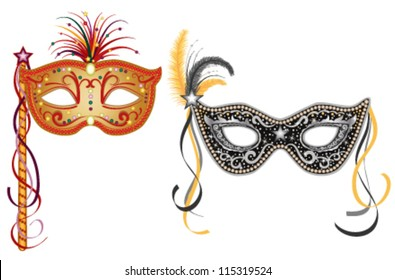 Party masquerade masks - set of two, gold and silver. Vector file saved as EPS AI8, no effects, easy print and edit.