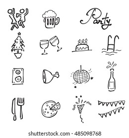Party and meeting drawing icons doodle