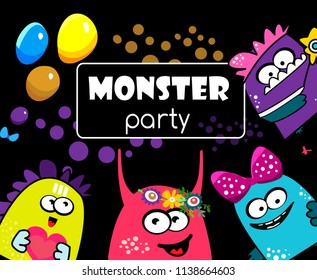 Party monster banner. cartoon