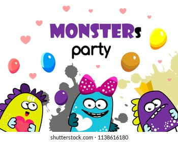 Party monster banner. cartoon vector