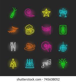 party neon icon set, vector design editable stroke