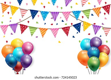 Party new year  Balloons and  Flags Background Vector
