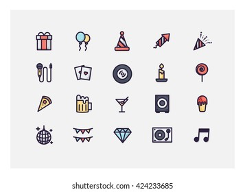 party new year icon set vector.
