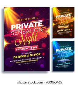 Party Night Flyer or Poster Design in Three Different Colors Purple, Golden and Blue.