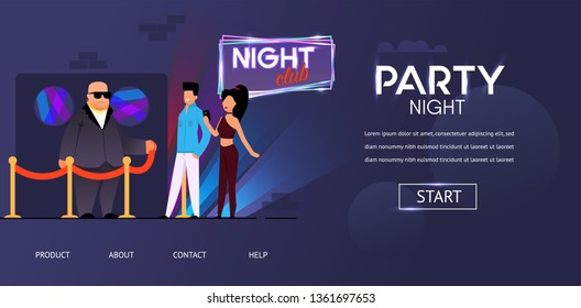 Party Night Security Bald Bouncer Face Control Man Woman near Roped Club Door Vector Illustration. Invitation Guest List Checking at Nightclub Building Entrance. Entertainment Concert Event