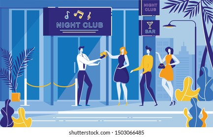 Party Night Security. Bouncer Cheking Woman Handbag with Metal Detector. Entrance People Line, Roped Dance Club Door Vector Illustration. Nightclub Building Exterior. Concert, Disco Event