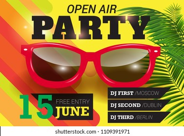 Party, open air, June fifteen lettering with red sunglasses. Summer invitation design. Typed text, calligraphy. For leaflets, brochures, posters or banners.