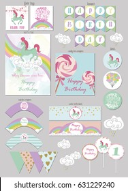 Party Package for magic birthday party with gift tags, invitation card, banner, wrappers for cupcake and bottle. Vector illustration