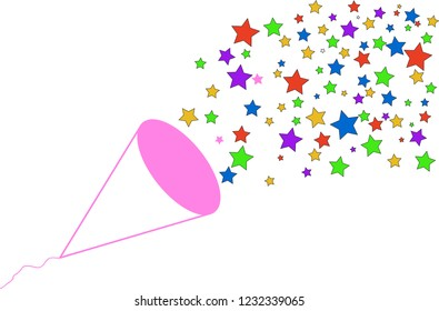 Party Paper Shoot with colorful star for congratulation or celebration moment on white background.