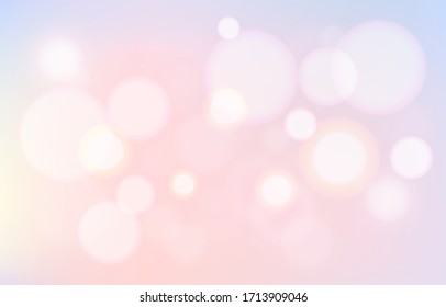 Party pastel lovely bubble bokeh background. Soft blur light effect wallpaper. Abstract background bokeh blurred. Shiny bokeh light effect. Vector illustration.