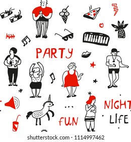 Party pattern in doodle style, vector graphic illustration