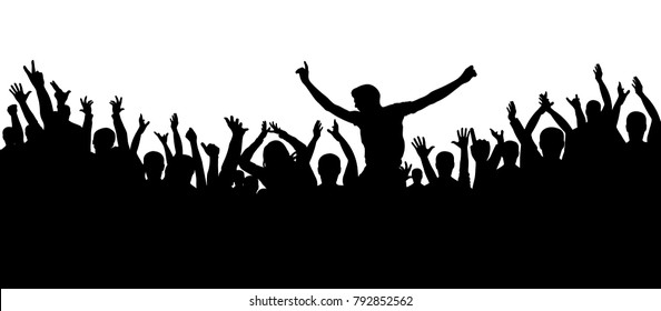 Party people, applaud. Cheerful crowd silhouette background. Fans dance concert, disco.