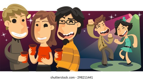 Party People Dancing and Drinking at Nightclub, vector illustration cartoon.