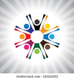 party people get-together to celebrate good time- simple vector graphic. This illustration can also represent children playing,kids having fun,excited people,animated people,festive mood,celebrations