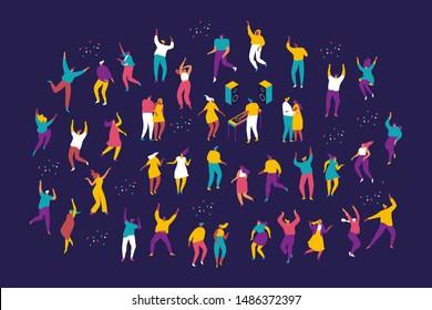 Party Leute. Große Gruppe männlicher und weiblicher Cartoons, die Spaß auf der Party haben. Eine Menge junger Leute tanzen im Klub oder im Musikkonzert. Flache bunter Vektorgrafik auf dunklem Hintergrund.