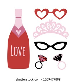 Party photo booth props. Holiday funny elements. Valentines day or wedding props - champagne, crown, glasses, diamond rings