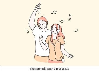 Party, pleasure, dancing concept. Young modern boy and girl, students dance relax listen to your playlist with the best tracks. Cheerful teenagers boy and girl in headphones. Simple flat vector.