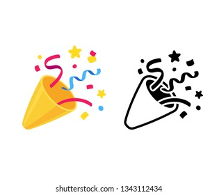 Party popper with confetti, cartoon emoji and black and white icon. Isolated vector illustration of birthday cracker symbol.