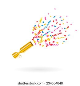 Party popper with confetti and streamers, vector illustration