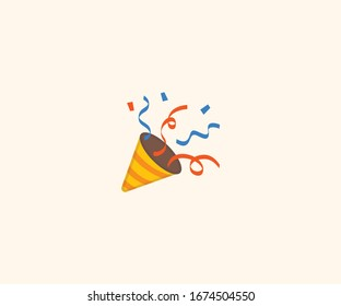 Party popper emoji vector isolated flat illustration. Party popper icon