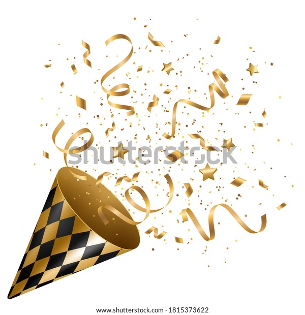 Party popper with gold confetti and serpantine salute isolated on white. Vector illustration. Golden cracker for celebration event design. Birthday and New Year congratulations surprise.