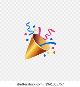 Party popper icon. Isolated on white. Confetti icon. Vector
